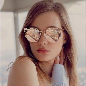 QUAY Rose Gold Fleur Sunglasses NEW